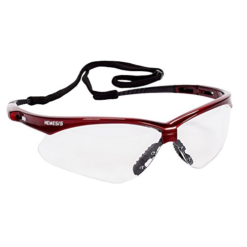 Jackson Safety V30 47378 Nemesis Safety Glasses (1 Pair) (Inferno Red Frame with Clear Anti-Fog Lens)