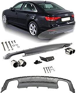 Brand] EAX Compatible with Audi A4 2013 2014 2015 2016 Replacement for Rear Bumper Diffuser Aero Kit Valence Under Body Silver Grey B8 S4 Style 13 14 15 16 Sport Sedan 4-Door