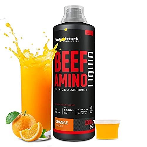 Body Attack Beef Amino Liquid - Acides aminés liquides (EAAs 4800 mg), BCAAs, sans sucre, délicieux et digestible, hydrolysat de proteine beef, vitamine B6, fabriqué en Allemagne - Orange (1000ml)