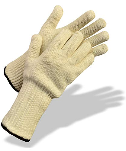Medipaq Long Wrist Protect Heatproof Oven Gloves - Hold BURNING hot dishes safely! Heavy Duty Oven Mitts For Professional and Kitchen Use (1x Pair - Cream)