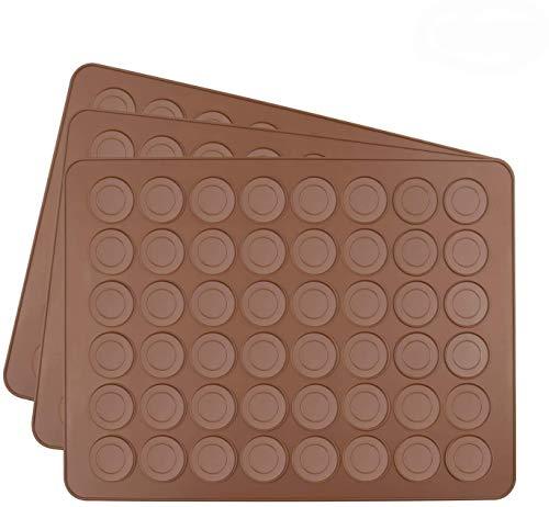 Tebery 3 Pezzi Stampo in silicone Macarons per 72 perfetti macaron 144 stampi singoli con rivestimento antiaderente 38x28cm Bruno Marrone