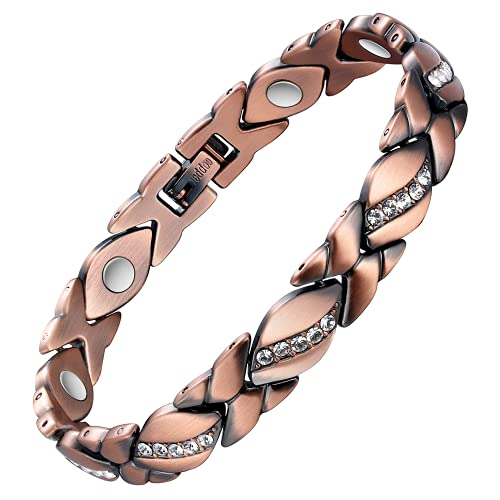 Jecanori Copper Bracelets for Women Magnetic for Arthritis Pain Relief~Effective Therapy for RSI&Carpal Tunnel~100% Pure Copper Crystal Bracelets~Jewelry Gift with Adjust Tool