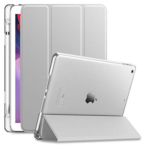 INFILAND Hülle für iPad 10.2 Inch, iPad 7th Generation 2019/ 8th Generation 2020, Superleicht Transluzent Smart Schutzhülle Hülle mit Pencil Halter, Auto Schlaf/Wach,Silber