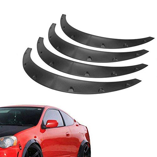 BLACKHORSE-RACING 4PCS Universal Fender Flares 2'/50mm Wide Body Kit Wheel Arches Durable PU