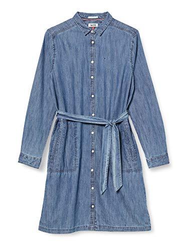 Tommy Jeans Femme Basic Denim Robe Manches Longues Chemise Bleu (Mid Indigo) 38 (Taille fabricant: Medium)