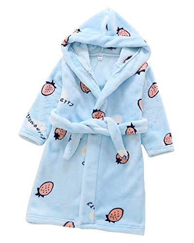 Toalla para Niños con Capucha Super Suave Cómoda Terry Albornoz Bata Pijama Ropa Housecoat Azul CM 130