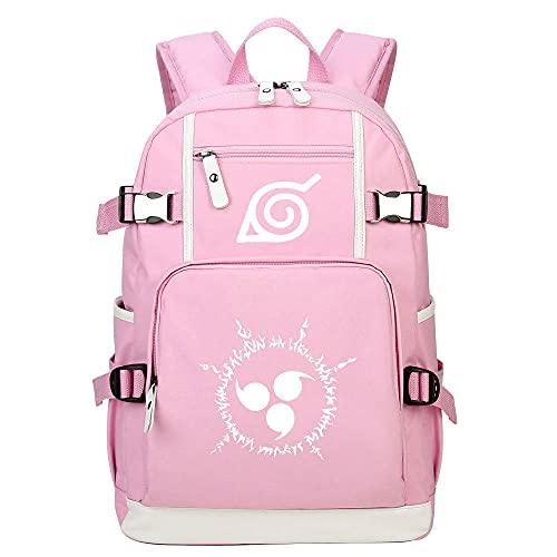 ZXXFR Mochila bolsos Anime NARUTO Teen Student School Bag Rosa senderismo portatil ordenador instituto escolares juveniles bolso