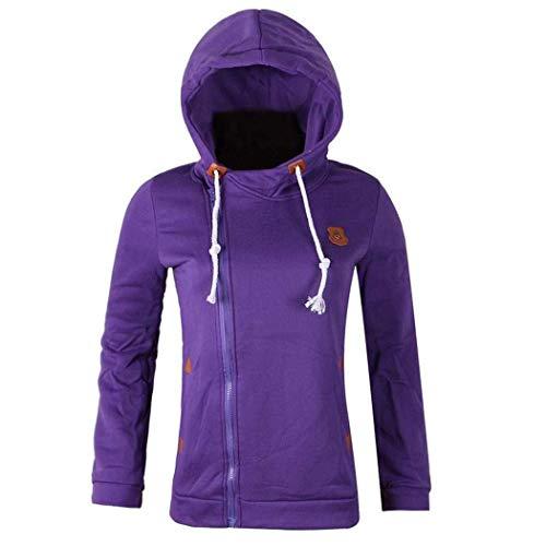 Hoodie Jacke Damen Mantel Reißverschluss Wesentlich Mädchen Langarm Outwear Kapuzenpullover Fashion 2020 Frauen Kleidung (Color : Lila, Einheitsgröße : S)