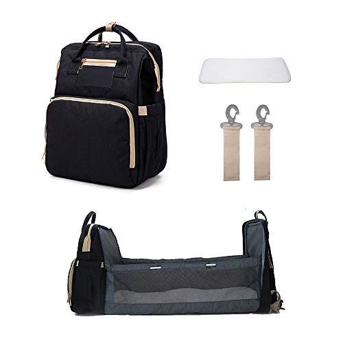 Cesta de viaje portátil 3 en 1 para cambiador de pañales plegable con tumbona, cuna portátil para bebés