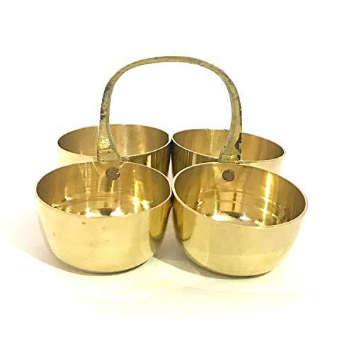 GD Brass Chowmukh Haldi Kumkum Holder Brass Pooja Accessories Brass Small Chowmukh 4 Bowl Holder Patra