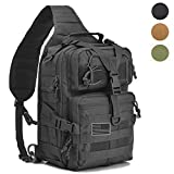 hopopower Tactical Sling Bag Pack Military Assault Rucksack Shoulder Bag Backpack Chest Pack Handbag Waterproof for Travel School Hiking Camping Trekking Exploring Fishing Hunting