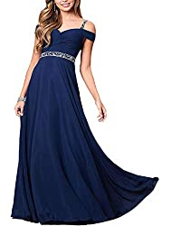 Blue Formal Bridesmaid Sleeveless Gown With Rhinestones
