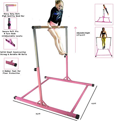 GymPros Pink Gymnastics Pro Training Junior Expandable Kip Bar Premium Jungle Gym Home Gym Pull Up Kids Training Gymnasts