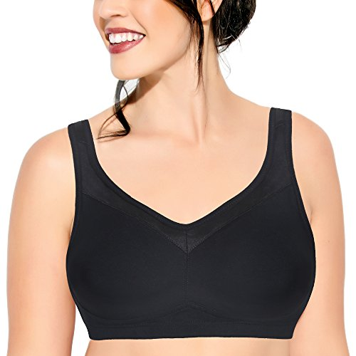Enamor A112 Smooth Super Lift Classic Full Support Bra - Stretch Cotton, Non-Padded, Wirefree & Full Coverage Black