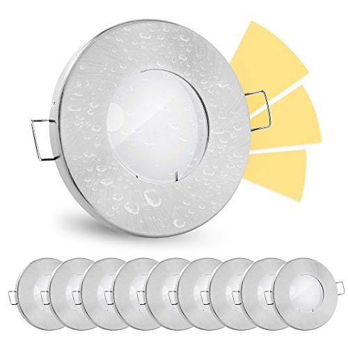 10 Stück linovum® fourSTEP Einbauleuchte LED Bad flach dimmen ohne Dimmer - LED GU10 5W warmweiß 230V - Spot IP65 gebürstet