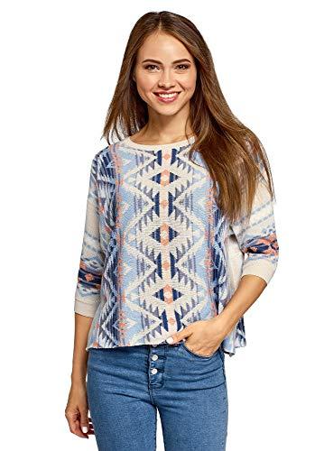 oodji Ultra Damen Lässiger Pullover mit Jacquard-Muster, Blau, DE 32 / EU 34 / XXS