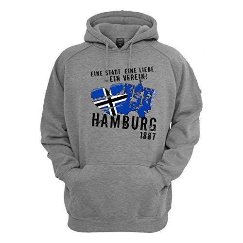 Volkspark Hamburg Streetwear Herren Hoodie Eine Stadt Eine Liebe EIN Verein (Grau, 4XL)