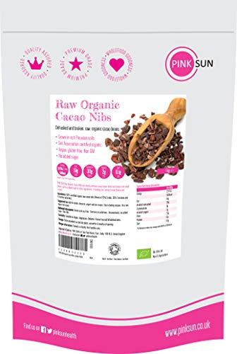 PINK SUN Kakaonibs Roh Bio 1kg Kakao Nibs Ohne Zucker Glutenfrei Soja-frei Vegan Ungeröstet Kochen Backen Raw Organic Criollo Cacao Nibs 1000g Peru