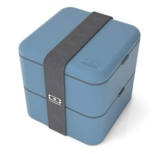 monbento - MB Square blau Denim Bento Box - Brotdose groß mit 2 Fächer - Lunch Box perfekt für Büro/Meal prep/Schule