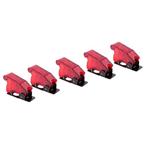 ACAMPTAR PláStico 12Mm Interruptor de Palanca Cubierta de Seguridad Protector Protector Cap 5PZ Rojo