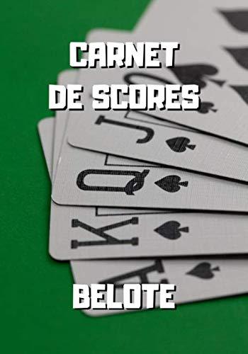 Carnet de scores belote: Cartes sur tapis vert - Cahier de scores belote à remplir - Grille de scores belote - 100 pages de score - 17,8 x 25.4 cm