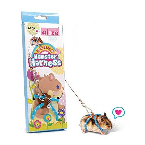 Esoes Arnés para hámster de ratas para mascotas, para caminar, correa de cuerda de ratón Alicia para casa de juegos para mascotas, enano, hámster, rata, ratón, hurón, chinchillas, ardilla (azu