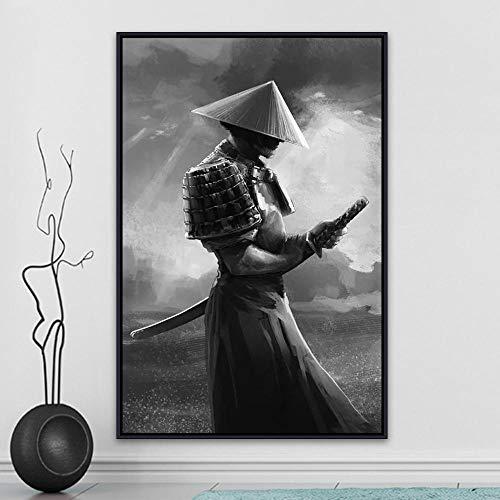 ZYWGG Cuadros para Dormitorios Modernos Imágenes Modernas del Arte De La Pared del Samurai Japonés Abstractas para La Decoración del Hogar De La Sala De Estar
