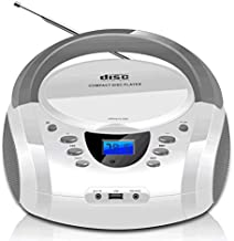 LONPOO CD Player Portable Boombox with FM Radio/USB/Bluetooth/AUX Input and Earphone Jack Output, Stereo Sound Speaker & Audio Player,White