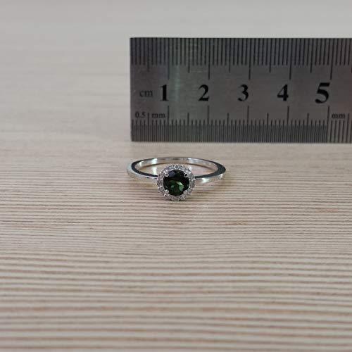 Diamonds in the Sand 14 Karat Weißgold Halo 5mm runder grüner Turmalinring mit Diamanten