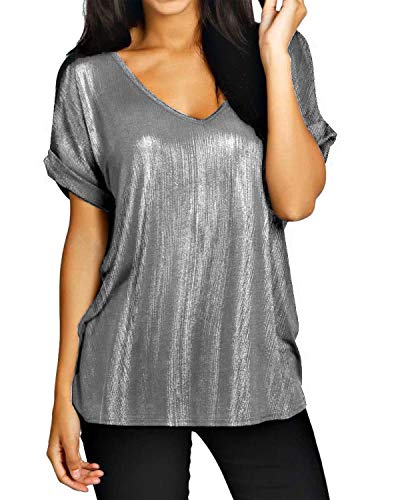 maglia argento ZANZEA Maglietta Donna Manica Corta Estate Sciolto T Shirt Taglie Forti Top Sportivo Paillettes Scollo V Spiaggia 04-Argento XXL