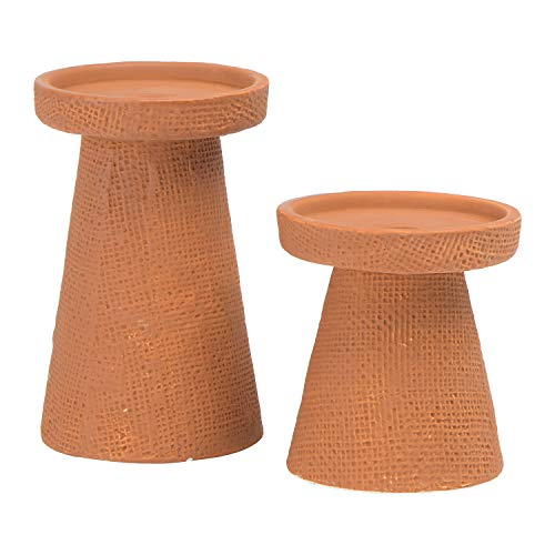 Main + Mesa Decorative Stoneware Pillar or Taper Candle Holder, Set of 2, Terracotta