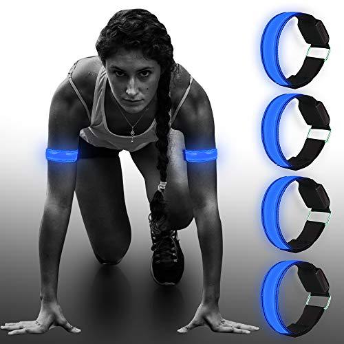 Vivibel Led-armband, 4 stuks, loopreflector, lichtband, led-reflectoren, joggen, reflectorband, kindernachts, veiligheidslicht voor hardlopen, joggen, fietsen, honden, wandelen, hardlopen, outdoorsports