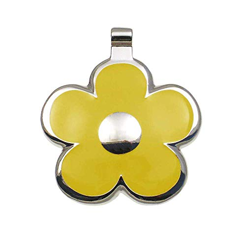 LuckyPet Flower Jewelry Pet ID Tag for Dogs and Cats, Easy to Read Personalized Engraving on Back Side, Large, Yellow