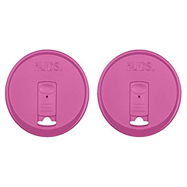iLIDS Mason Jar Drink Lid, Wide Mouth, Mulberry, 2-Pack