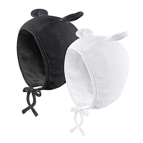 Pesaat Neugeborene Mütze Baby Jungen Mädchen Bärenohren Babymütze Baumwolle Kleinkind Hüte für 0-6Monate Unisex Baby Häubchen Mütze (Weiß+schwarz, 0-6Monate)