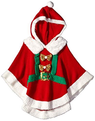 Blizzard Bay Girls Ugly Chrismas Sweater Poncho, red/White/Hoody, 5
