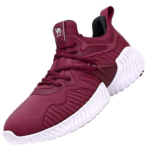 CAMEL CROWN Zapatillas de Deporte para Mujer, Zapatos de Running, Zapatos Deportivos Caminar Gimnasia Ligero Fitness Casual Sneakers Outdoor Calzado con Cordones Negro Rojo Rosa 37-42 (37 EU, Rojo)