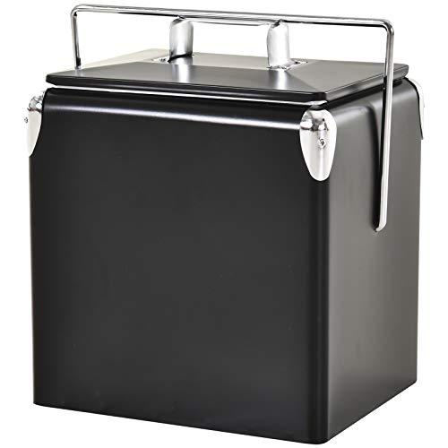 Outsunny 30 l Kühlbox zum Warmhalten und Kühlen, 24h Weinkühler, mit Tragegriff, Camping, Edelstahl, Schwarz