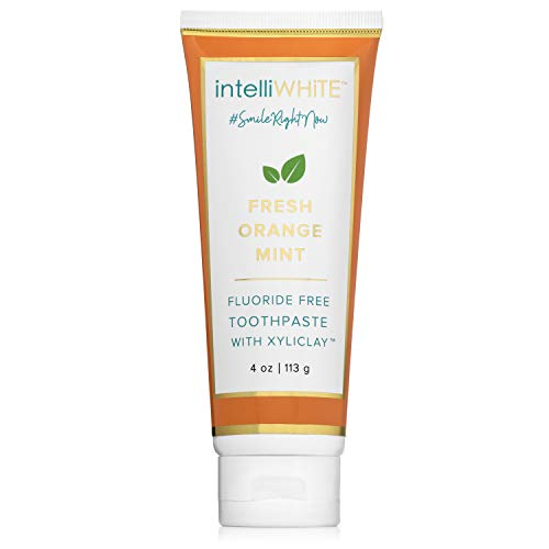 intelliWHiTE Naturally Crafted Fresh Orange-Mint Fluoride-Free Toothpaste With Xyliclay - Cleanses & Polishes Teeth To a Glossed Finish, Aloe Vera & Bentonite Clay, Non Toxic, Made In The USA, 4oz
