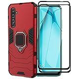 XIFAN Hülle für Realme X50 Pro 5G [Strapazierfähig] Ring Ständer, [Funktioniert Mit Magnetischer Autohalterung] Hülle Schutzhülle, Rot + 2 Pack Panzerglas