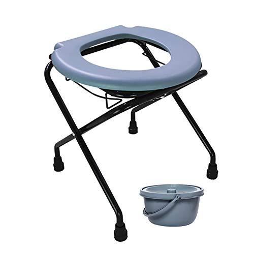 QWEASDF Klappbarer Kommodenstuhl aus Edelstahl, tragbarer Toilettensitz, Töpfchenstuhl für ältere Schwangere Frauen und Kinder Perfekt für Camping, Wandern, Ausflüge, Baustellen