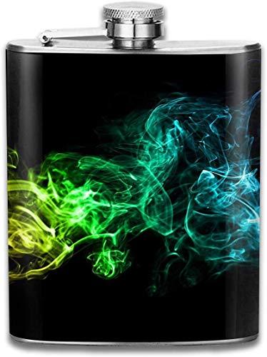 Fraktale Wolke Rauch Tasche Auslaufsicher Schnaps Flachmann Alkohol Flagon 304 Edelstahl 7 Unzen Geschenkbox im Freien