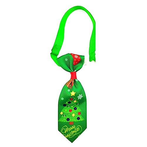 Collar de corbata de perro de Navidad, tamaño pequeño de 4.5 pulgadas, mascotas Xmas, cachorro, niño niña, XS S (regalos verdes y árboles)