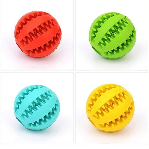 Pelota de juguete para limpieza de dientes de mascotas, juguete interactivo, bola de juguete no tóxica, resistente a mordeduras para mascotas, perros, cachorros, gatos (rojo, pequeño (5 cm)