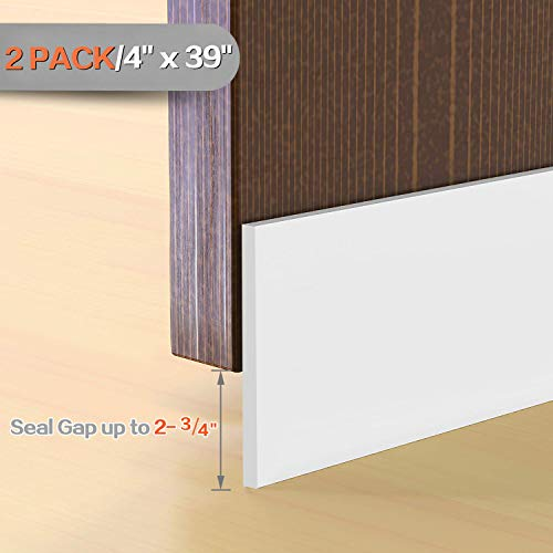 2 Pack Large Gap Door Draft Stopper, 4' W x 39' L Under Door Bottom Seal for Garage Basement Exterior and Interior Doors (Solid White)