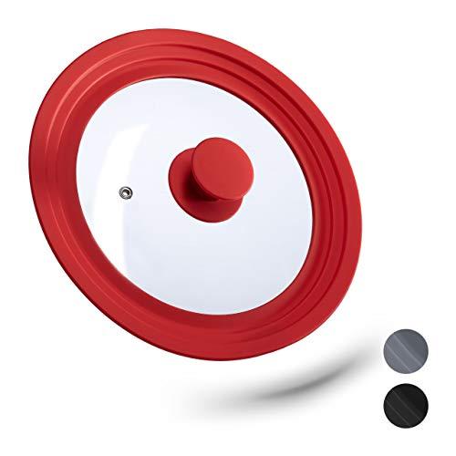Relaxdays Topfdeckel universal, flexibler Glasdeckel mit Silikonrand & Dampfloch, Töpfe & Pfannen mit Ø 20-24 cm, rot