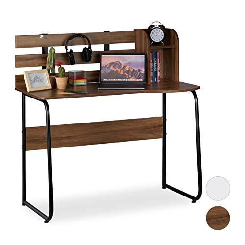 Relaxdays biurko, 2 półki, tylna ścianka, stół roboczy dla młodzieży, studentów, wys. x szer. x gł.: 110 x 110 x 57 cm, wygląd drewna/czarny, PB, ciemnobrązowy, 110 x 110 x 57 cm