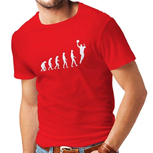 Camisetas Hombre evolución de Baloncesto - Canasta de la Calle, me Encanta Este Juego, Gran Fan de Regalo (Medium Rojo Blanco)