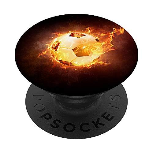 Fußball Feuerball Ball Fußballer Flamme Feuer Geschenk PopSockets PopGrip: Ausziehbarer Sockel und Griff für Handys/Tablets mit Tauschbarem Top