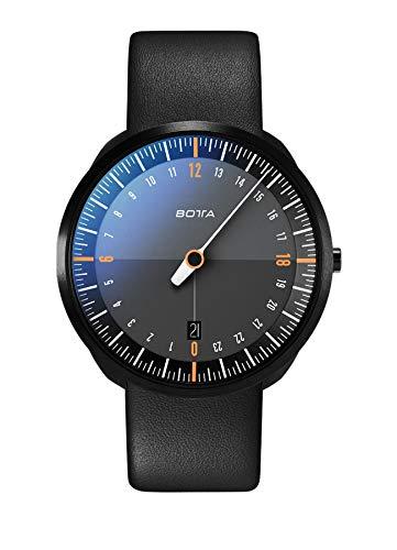 Botta-Design UNO 24 Titan Herren-24H-Einzeigeruhr Analog Schweizer Quarzwerk mit Lederarmband 420000 (40 mm, Black Edition/Orange)